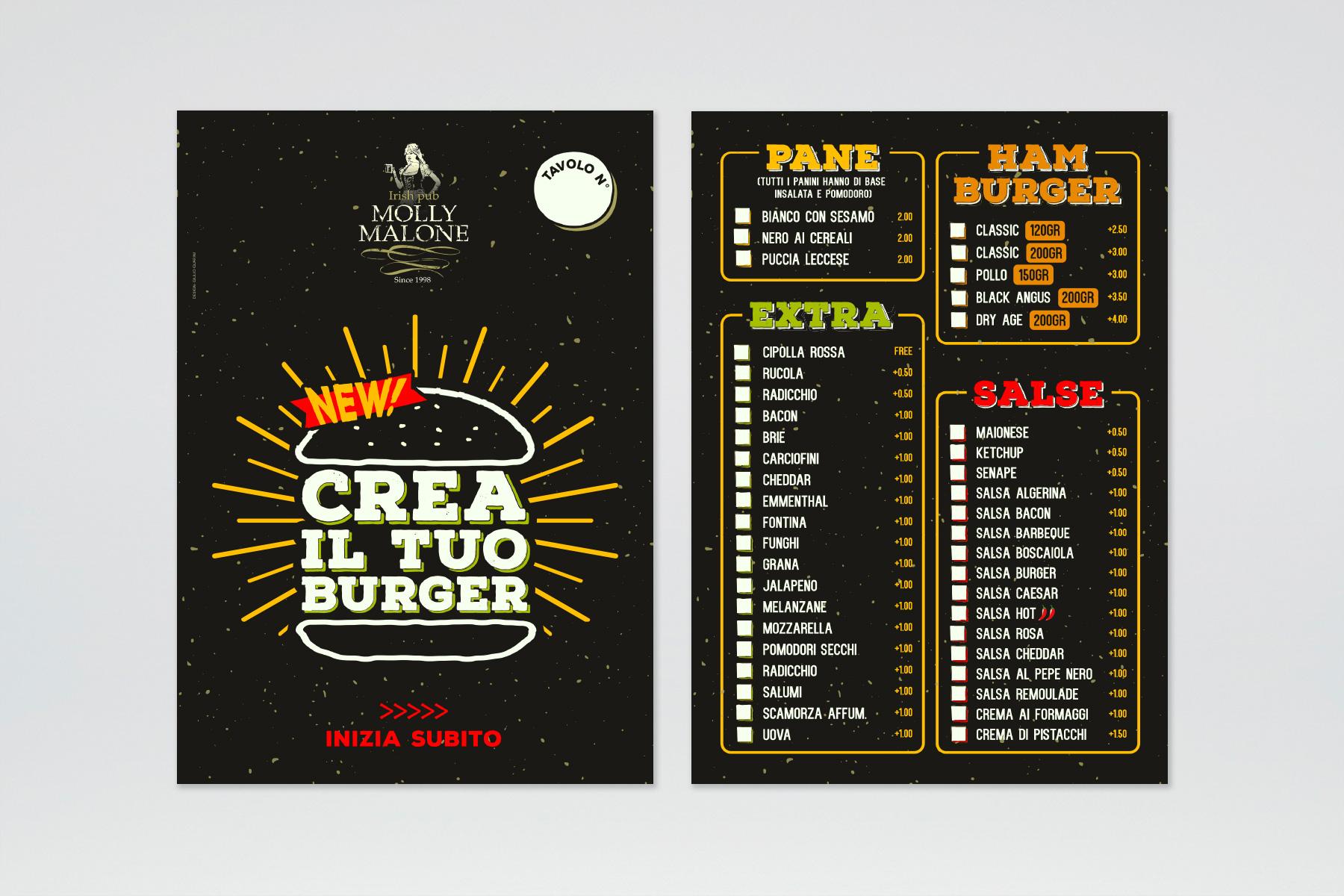 """""""Crea il tuo burger"""" – Design menu"""